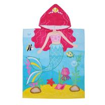 Mermaid Hooded Bath Towel for 2 to 6 Years Girl,100% Cotton Water Absorption Beach Poncho Swim Changing Robe,Sand Proof