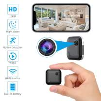 OUCAM Hidden Camera 1080P Mini Spy Camera WiFi Camera with Remote Viewing 380mAH Battery Wireless IP Camera Nanny Cam with Real-Time Video Night Vision, Phone App with Andriod and iOS, Silver