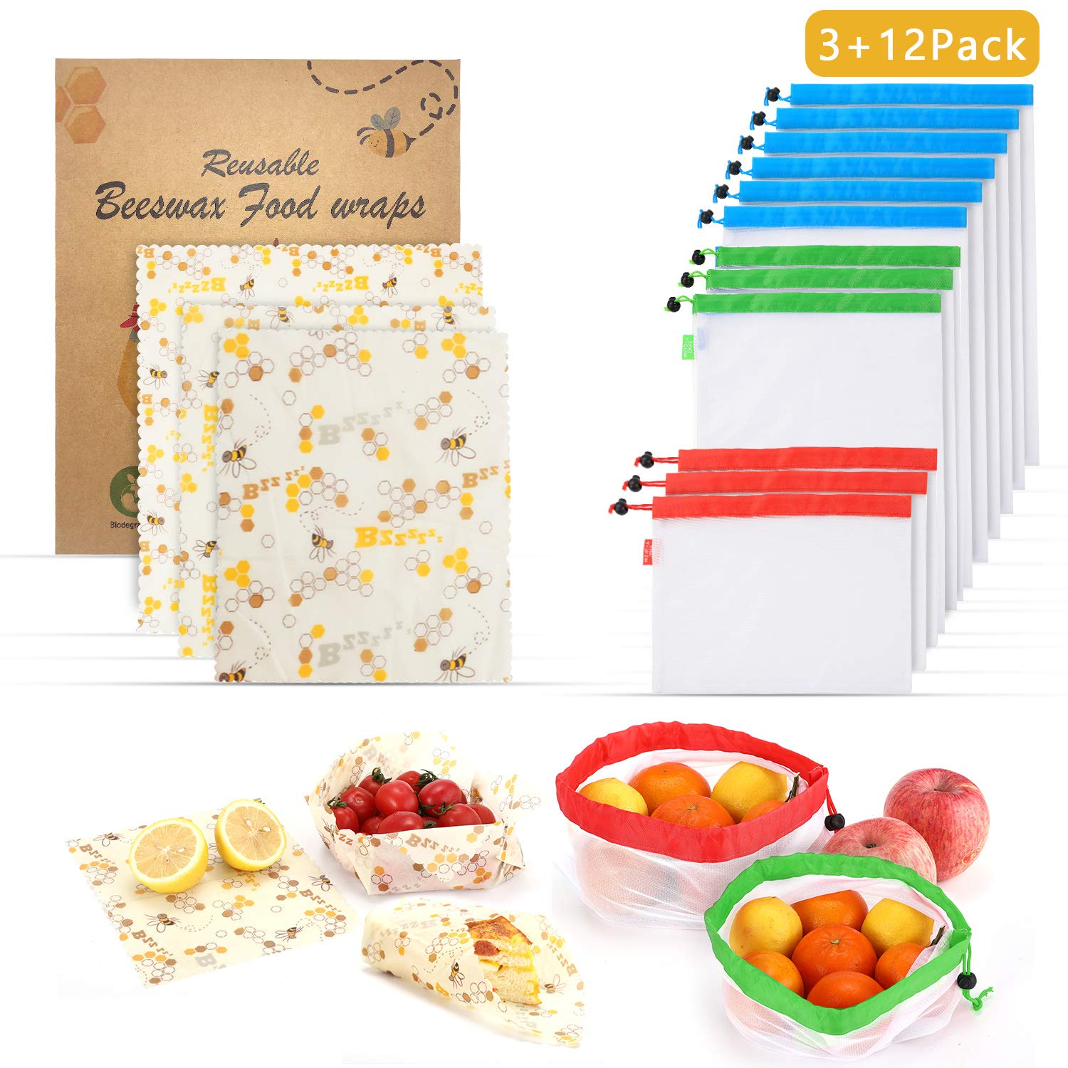 AKIMO Reusable Beeswax Food Wrap Produce Bags - 3 Pack Organic Sustainable Beeswax Wraps Sandwich Food Storage Wrap and 12 Pack Reusable Produce Bags With Drawstring - Washable Eco Friendly