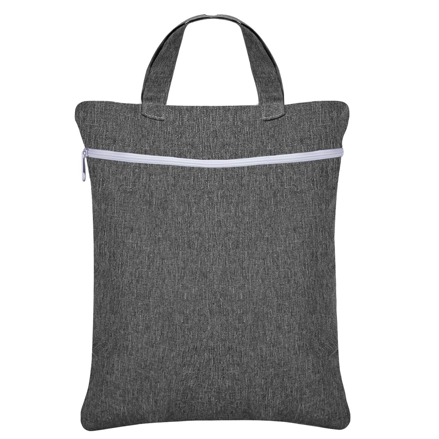 Damero Hanging Wet Dry Bag, Reusable Laundry Wet Bag with Two Compartments for Cloth Diaper and Swimsuit, Small-Gray