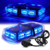 """FOXCID 12"""" 36 LED 18 Watts Emergency Hazard Warning Security Roof Top Flash Strobe Mini Light Bar with Magnetic Mount, for Plow or Tow Truck Construction Vehicle Blue"""