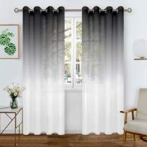 BGment Faux Linen Ombre Sheer Curtains for Living Room, Grommet Semi Voile Light Filtering and Privacy Curtains for Bedroom, Set of 2 Panels (Each 52 x 90 Inch, Black)