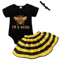 Infant Baby Girl Bumble bee Clothes Letter Print Romper+Black Yellow Stripe Skirt Outfit Set