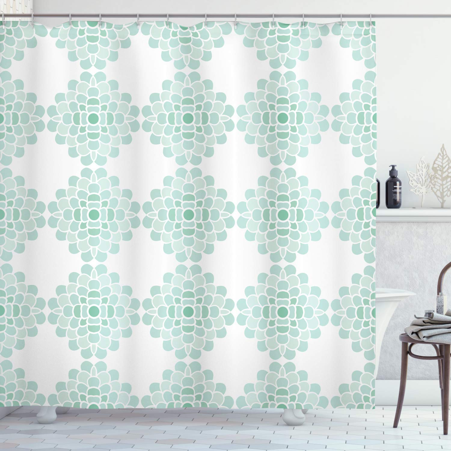 """Ambesonne Floral Shower Curtain, Abstract Horizontal Lines Geometric Bold Thin Stripes Ocean Themed Illustration, Cloth Fabric Bathroom Decor Set with Hooks, 84"""" Long Extra, Seafoam White"""