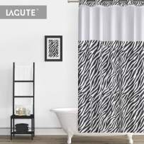 Lagute SnapHook Essential Hook Free Shower Curtain Set | Removable PEVA Liner | See Through Top | Machine Washable | Zebra