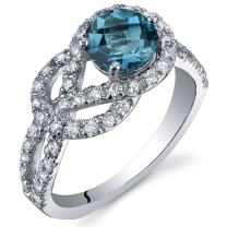 Peora London Blue Topaz Ring in Sterling Silver, Infinity Knot Design, Natural Gemstone, Round Shape, 6mm, 1.00 Carat, Comfort Fit, Sizes 5 to 9