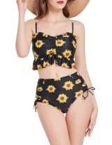 Belle Poque Ruffle High Waisted Bikini Set Two Piece Swimsuits for Women