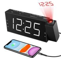 Projection Digital Alarm Clock for Bedroom Ceiling with USB Charger, 7'' Large LED Display, Dual Alarms, 3 Dimmer, Snooze, 12/24 H, DST, Snooze, Battery Backup, Desk Wall Ceiling Clock for Kid Senior