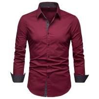 Manwan walk Mens Dress Shirts Regular Fit Button Down Long Sleeve Men Casual Shirt…