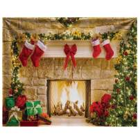 Funnytree 10x8ft Durable Christmas Fireplace Backdrop No Wrinkles Fabric Interior Vintage Xmas Tree Stockings Photography Background Portrait Photobooth Party Banner Decorations Photo Studio Props
