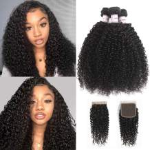 "Hepoiss Brazilian Kinky Curly Human Hair 3 Bundles with Closure 8A Brazilian Curly Virgin Hair Weft with Lace Closure Natural Black Color (16"" 18"" 20""+14"" Closure)"