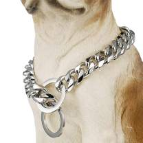 GZMZC Dog Chain Collar High Polished Stainless Steel Cuban Link Strong Heavy Duty Chew Proof Walking Training Chain Leash Collar for Small Medium Big Dogs