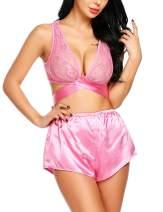 ADOME Women Lingerie Lace Sleepwear Sexy Pajamas Cami Shorts Set