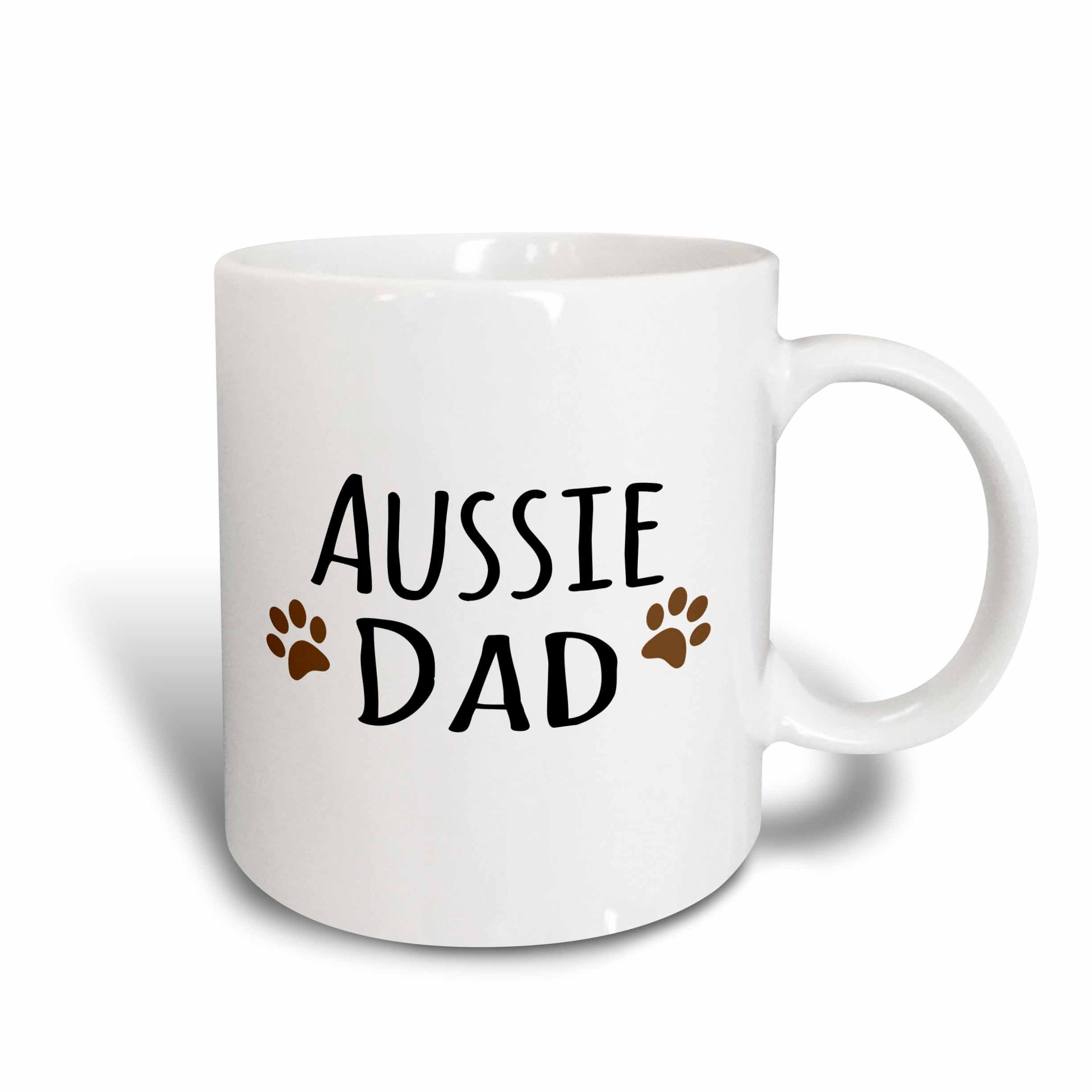 3dRose Aussie Dog Dad Mug, 11 oz, Ceramic