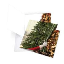 Curtain Miracles - Beautiful Festive Merry Christmas Card with Envelope (Extra Large 8.25 x 9.75 Inch) - Xmas Tree Stationery, Santa Claus Gift - Magical Holiday Notecard for Kids, Adults JQ4184BXSG