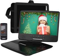 """HDJUNTUNKOR 12.5"""" Portable DVD Player with 10.1"""" HD Swivel Display Screen, 5 Hour Rechargeable Battery, Support CD/DVD/SD Card/USB, Car Headrest Case, Car Charger, Unique Extra Button Design"""