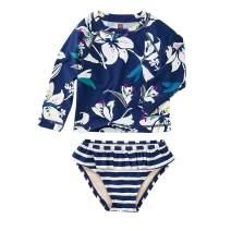 Tea Collection Rash Guard Swimwear Set, Girls, Tropical Lillies