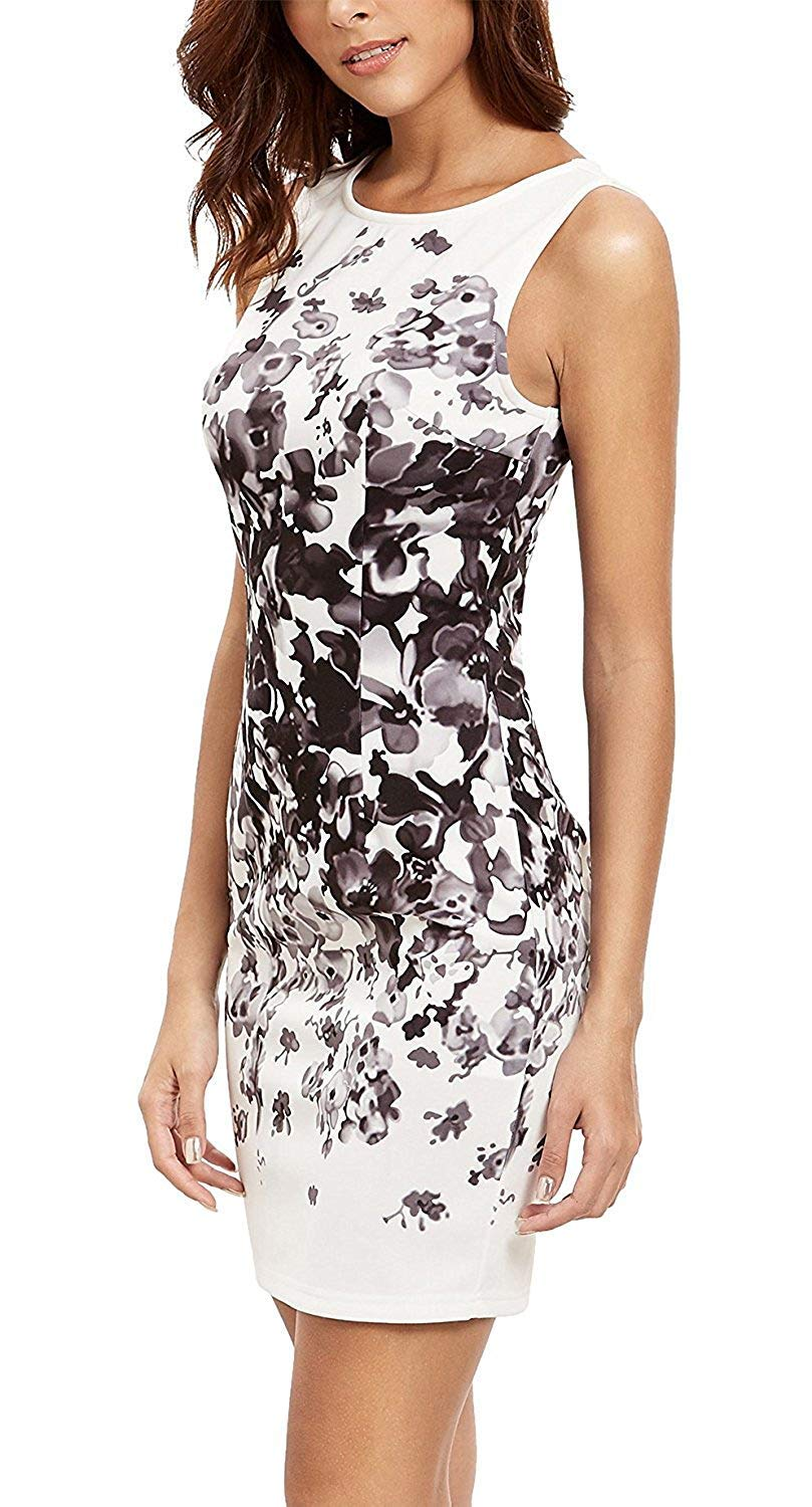Floerns Women's Sleeveless Floral Work Party Cocktail Bodycon Dress