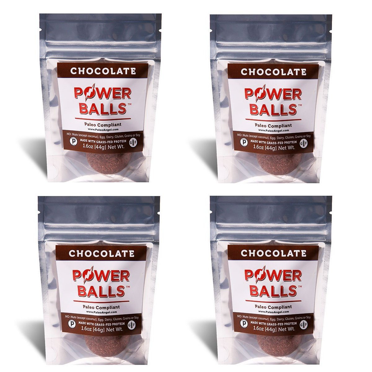 Paleo Angel Power Balls Healthy Paleo Approved Gluten Free Protein Snack Bars (Chocolate 4-Pack)