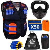 Kids Tactical Vest Kit for Nerf Guns N-Strike Elite Series Including Detachable Tactical Face Mask for Nerf Rival, Refill Darts, Dart Pouch, Reload Clips and Wrist Band for Boys Gifts Age 6 7 8 9 10