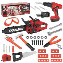 HONYAT Kids Tool Set 40PCS include Realistic Electric Toy Drill Chainsaw Construction Tool Accessories Play Set, Construction Pretend Play Toy Kit Great Gift for Kids Toddlers Boys Girls Ages 3-9Years