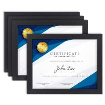 Langdon House 8.5x11 Certificate Frame (Black, 4 Pack), Diploma Frame, Sturdy Wood Composite, Wall Mount Hooks Included with Black Picture Frames for Documents, Prima Collection
