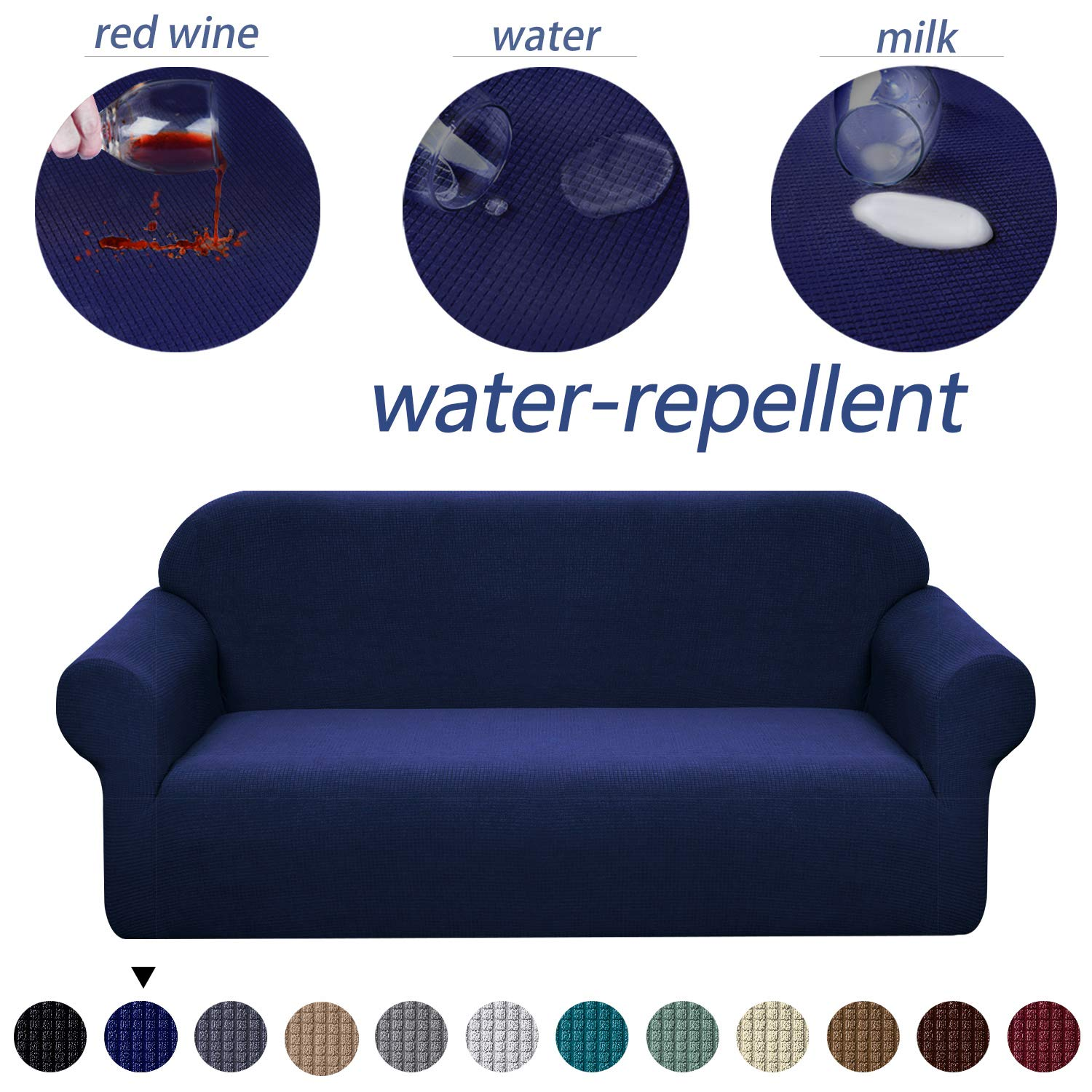 Granbest Premium Water Repellent Sofa Cover High Stretch Couch Slipcover Super Soft Fabric Couch Cover (Navy Blue, XL Sofa)