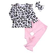 Happy Town 3Pcs Infant Toddler Baby Girl Clothes Ruffle Fly Sleeve Romper+Ribbon Bow Pants with Headband Kids Spring Outfit