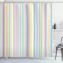 """Ambesonne Pastel Shower Curtain, Vertically Striped Pattern Different Colored Straight Lines Classical Old Fashioned, Cloth Fabric Bathroom Decor Set with Hooks, 84"""" Long Extra, Pastel Colors"""