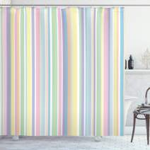 "Ambesonne Pastel Shower Curtain, Vertically Striped Pattern Different Colored Straight Lines Classical Old Fashioned, Cloth Fabric Bathroom Decor Set with Hooks, 84"" Long Extra, Pastel Colors"