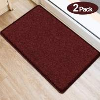 """BEAU JARDIN 2 Pack Indoor Soft Floor Mat 34""""x20"""" Thick Plush Machine Washable Shaggy Rug Inside TPR Backing Non Slip Carpet Absorbent Moisture Mats for Home Decor Kitchen Bedroom Bathroom Standing Red"""