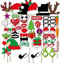 Christmas Photo Booth Props Kit 50 Pcs, Artist Rendered xmas Games for Party Favors Supplies New Years Dress-up Pose Sign Deer Horn Hat, Holiday Picture Backdrop Decorations Selfie Props Photography
