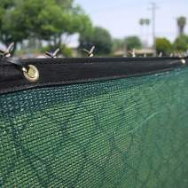 Clevr 6' x 50' Wind Privacy Screen Fence, Commercial Grade Fabric Mesh with Durable Grommets, Green (Set of 2-100' Long) | 3 Year Limited Warranty 140GSM
