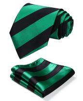 HISDERN Striped Tie for Men Handkerchief Woven Classic Collegiate Men's Necktie & Pocket Square Set