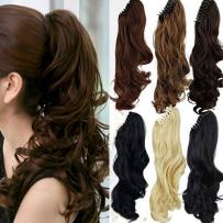 Claw Ponytail Extension Short Curly Wave 145G Thick Jaw Ponytails Pony Tail Hairpiece Clip in Hair Extensions Real Natural as Human Synthetic Fibre for Women 18 inch medium brown