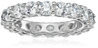 Platinum or Gold Plated Sterling Silver All-Around Band Ring set with Round Swarovski Zirconia