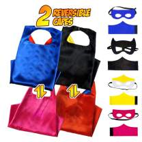 Superhero Capes for kids 2 Reversible Characters Costume Set Pretend Play for Boys and Girls Includes Capes,Masks,Wristbands and Carry Bag for Make Believe Dress-Up Builds Self-Confidence and Teamwork