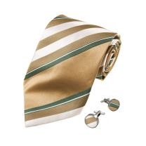 Y&G Men's Fashion Multicolored Stripes Necktie Gift Giving Goods Mens Silk Tie Cufflinks Set 2PT