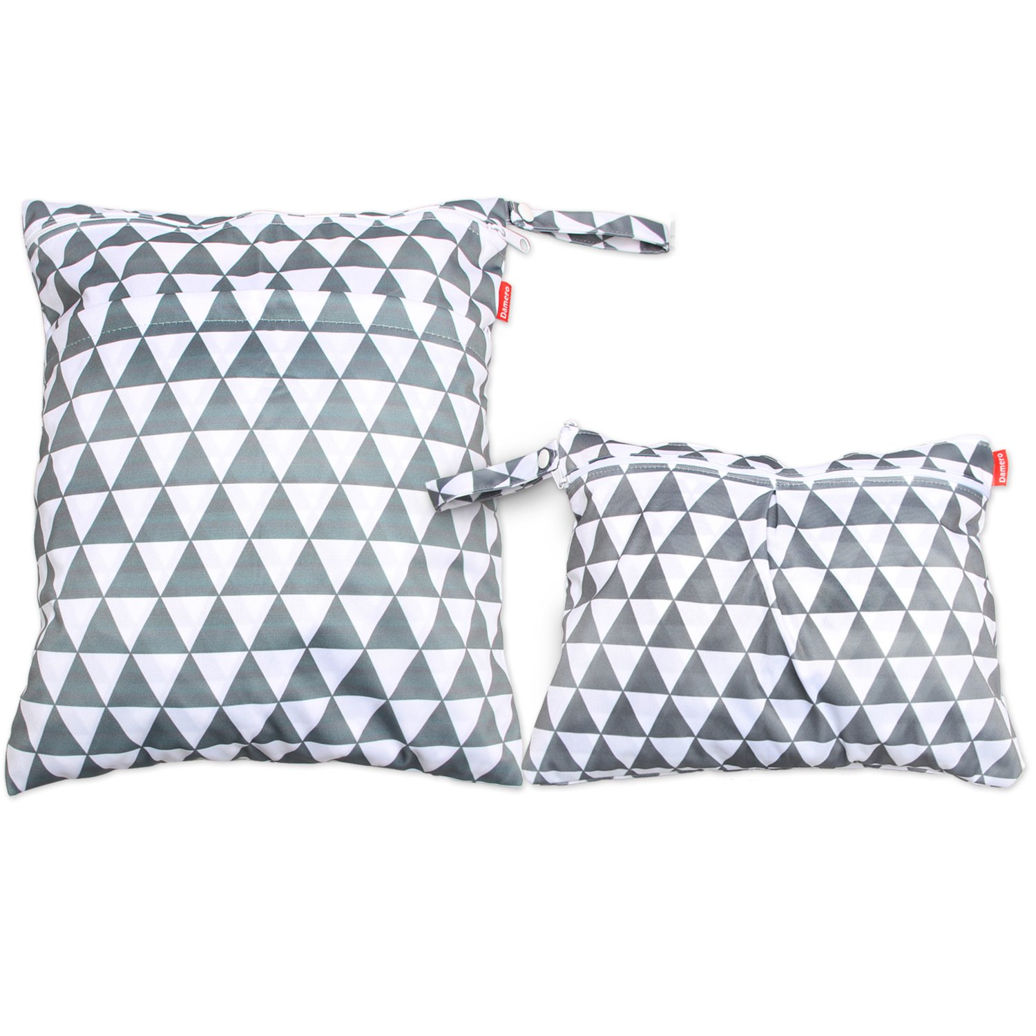 Damero 2pcs Travel Wet and Dry Bag with Handle for Cloth Diaper, Pumping Parts, Clothes, Swimsuit and More, Easy to Grab and Go, Gray Triangle