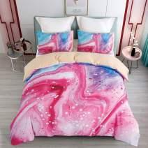 KINBEDY Marble Watercolor Kids Duvet Cover Set, Colorful Teen Girls Bedding Sets Twin Size Pink 3 Pcs Ultra Soft Set.
