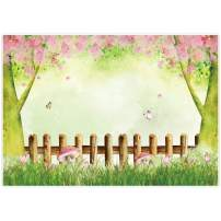 Allenjoy 7x5ft Spring Butterfly Garden Party Backdrop Green Pink Flowers Mushroom Bunny Ears Wooden Fence Girls Fairy Birthday Background Baby Shower Banner Photobooth Props