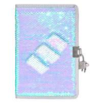 Flip Sequin Diary with Lock and Key Sequins Locking Journal Notebook with Two Keys, Iridescent Light Blue