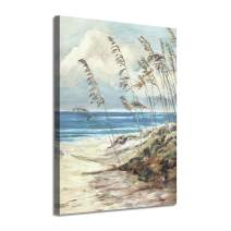 "Abstract Wall Art Coastal Pictures: Blue Ocean Sand Seascape Painting Print on Canvas for Bedrooms(16""x12""x1 Panel)"