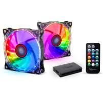 Rosewill RGB Case Fan 2-Pack 120mm Case Fans with 17-Key Remote Control & 8-Port RGB Fan Hub. 2 x 120 mm RGB Case Fans Set Ultra Quiet PC Fan Set 2-Pack. Rosewill RGBF-17002 RGB Case Fan Set