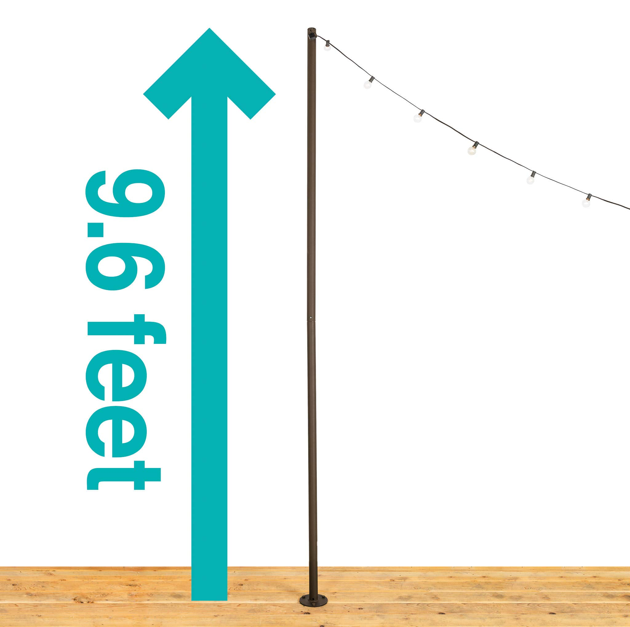 IYN Stands Outdoor String Light Pole Stand, 9.6 Ft. Durable Powder Coated Steel, Weather Resistant, Mount to Deck, Patio, Backyard, Set In Concrete, Wedding, Event, Restaurant, Rooftop, USA Made-Brown