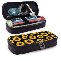 AHOOCUSTOM Sunflowers Pencil Case Leather Storage Pen Bag Pouch Holder Maker Stationery Organizer with Zippers for School Student Girls Boys Adult (Brown)