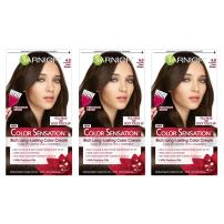 Garnier Color Sensation Hair Color Cream, 4.0 Snow Day Cocoa (Dark Brown), (Pack of 3) (Packaging May Vary)