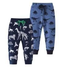 HUAER& Baby Boy's Jogger Pants Dinosaur Car Animal Print Drawstring Elastic Sweatpants (1-Pack 2-Pack)