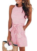 Dokotoo Womens Striped Sleeveless Waist Belted Zipper Back Wide Leg Rompers with Pockets