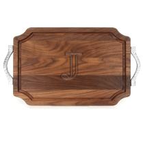 "BigWood Boards W310-RP-J Cutting Board with Rope Handle in Cast Aluminum with Scalloped Corners, 12-Inch by 18-Inch by 1-Inch, Monogrammed""J"", Walnut"